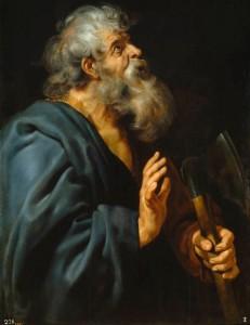 """Lukisan """"St. Matthias"""" dengan cat minyak di atas kanvas (108 × 84 cm) karya Peter Paul Rubens (1577 – 1640) tersimpan di Museum Museo del Prado, Madrid, Spanyol."""