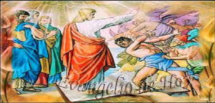 Yesus mengusir roh jahat di Sinagoga, ilustrasi dari vidas-santas.blogspot.com