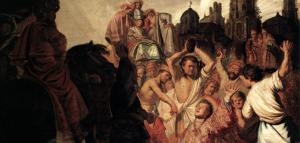 """The Stoning of Saint Stephen"" dilukis dengan cat minyak di atas kanvas oleh Pelukis Belanda Rembrandt, dibuat pada 1625 dan sekarang tersimpan di Musée des Beaux-Arts de Lyon, Lyon, Perancis."