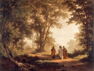Dua murid Yesus sedang menuju Emaus