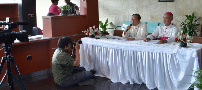 Suasana konferensi pers Penutupan Sidang Tahunan para Uskup di Ruangan Resepsionis lantai 1 gedung KWI jln. Cut Mutiah 10 Jakarta.