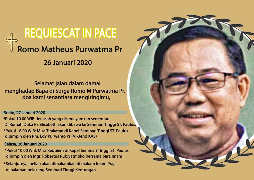 27 Januari, gereja Katolik Indonesia, katolik, Komsos KWI, Konferensi Waligereja Indonesia, Rest in Peace, RIP, Romo Matheus Purwatma PR