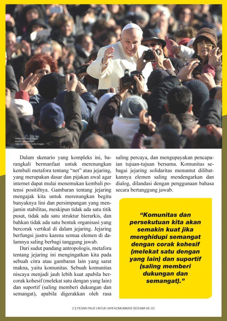 Pesan Paus Untuk Hari Komunikasi Sedunia ke-53